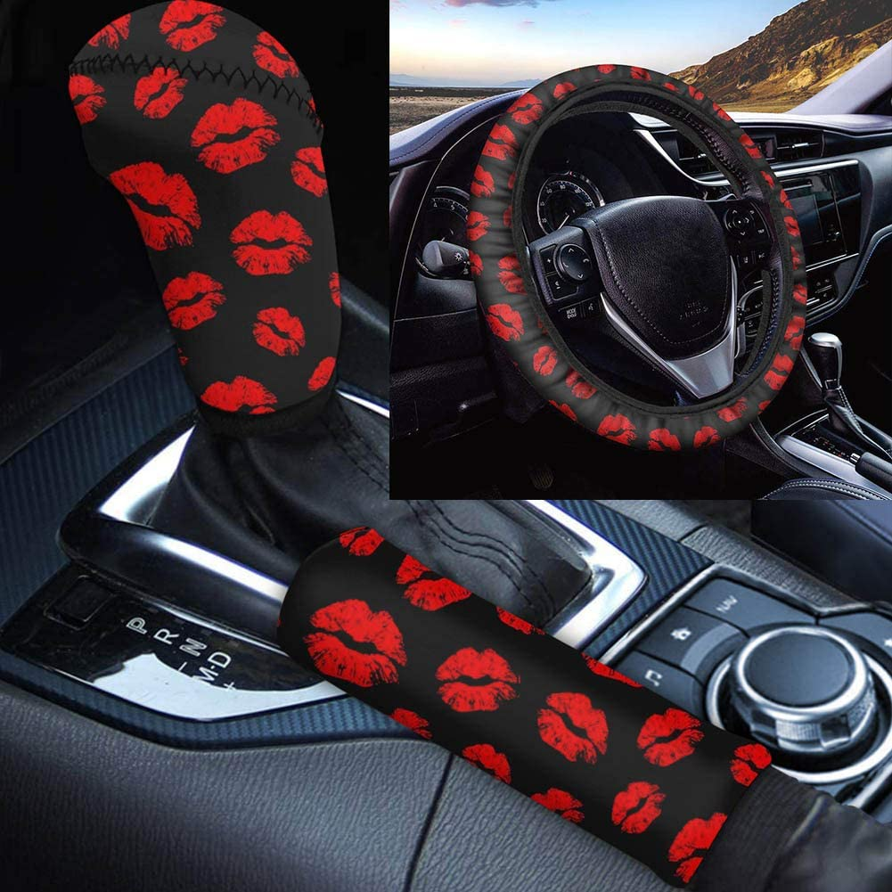 Fees free Jiueut 3PCs Set Red Kiss Lip Attention brand Stretchy Wh Neoprene Print Steering