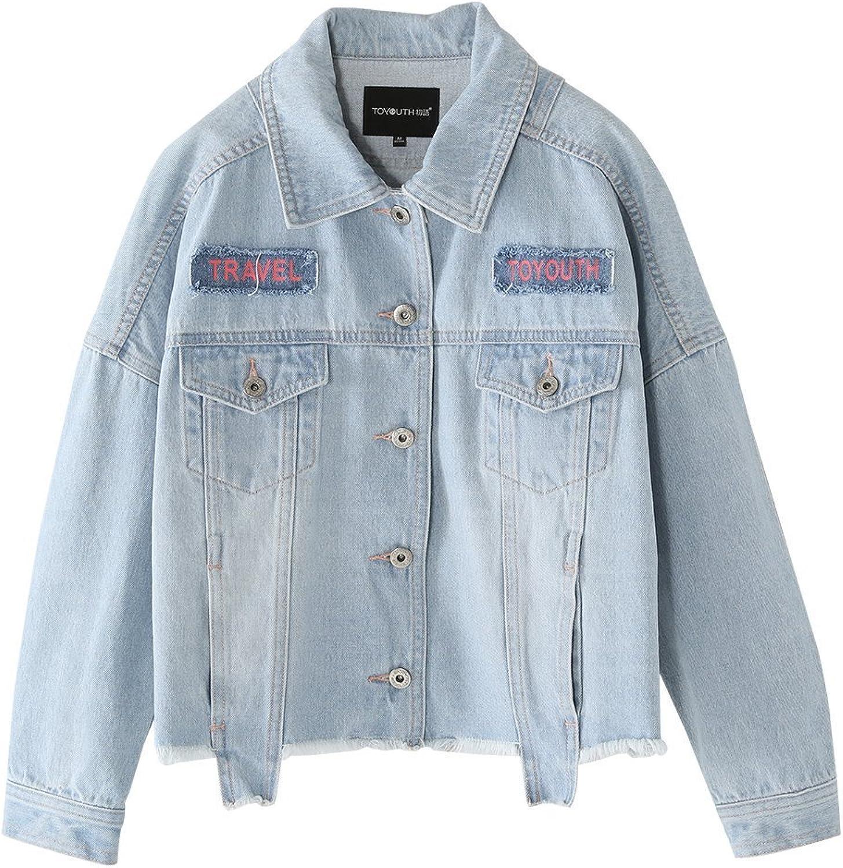 Toyouth Women's Juniors Fashion Look Long Sleeve Denim Jean Jacket