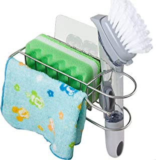 YQh Strong Adhesive Sponge Holder + Dish Brush Holder + Dishcloth Hanger, 3-in-1 Sink Caddy, 18/8 Stainless Steel(SUS304) Kitchen Sink Organization Basket Rust Proof Water Proof, No Drilling No Fall