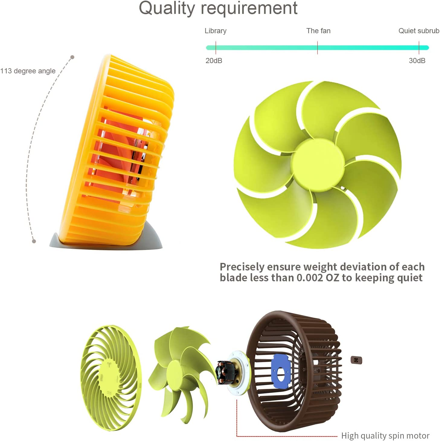 5 Inch Mini USB Desk Fan, 3 Speeds, Quiet Work Noise, USB Powered, Gravity Sensor Switch, 5 Foot Cable, Orange Fan For Home and Office