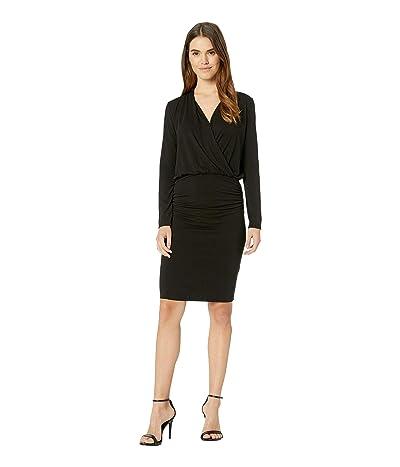 Michael Stars Jules Jersey Long Sleeve Cross Front Dress (Black) Women