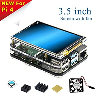 for Raspberry Pi 4 Screen with Fan, 3.5 inch Resistive Touch Screen Match Acrylic Case, 3Pcs Heat-Sinks, 320x480 Pixel Monitor TFT Display