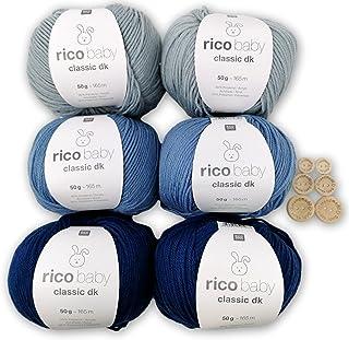 Rico Baby Classic dk Lot de 6 pelotes de laine pour bébé 6 x 50 g – Laine douce / coton mélangé – Lot de 6 boutons pour tr...