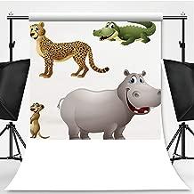 Cartoon Africa Animal Set Cheetah Theme Backdrop Photo Backdrop Photography Backdrop,Alligator,6.5x6.5ft