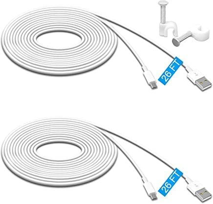 2 Pack 26FT Power Extension Cable for Wyze Cam Pan,WyzeCam,Kasa Cam.YI Dome Home Camera,Furbo Dog,Nest Cam,Arlo Q,Blink,Amazon Cloud Camera,Durable Charging and Data Sync Cord for Home Security Camera