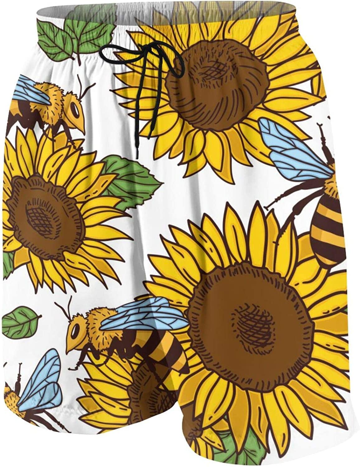 FuYin Bees Leaves and Sunflowers Boys Swim Trunks Quick Dry Beach Board Swim Shorts Swimsuit Swimwear from 7T to 18