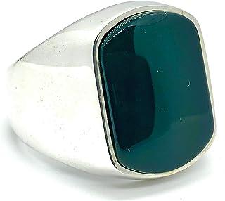 MEVA 925k Fine Polished Sterling Silver Green Agate (aka Aqeeq) Elegant Men's Ring RKC0003