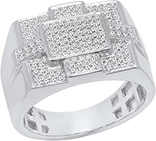 0.50 Carat (ctw) 10K Gold Round Cut White Diamond Men's Flashy Micro Pave Hip Hop Ring 1/2 CT