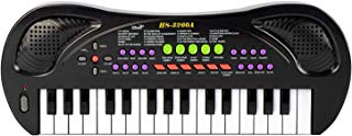 BIGFUN 32 Keys Kids Piano Keyboard Toddler Multifunction Electronic Piano Music Puzzle Educational Instrument Toy for Children with Microphone (Black)