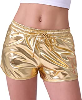 60d72a74 POSHDIVAH Metallic Shorts for Women Hot Sparkly Shiny Shorts with Elastic  Drawstring