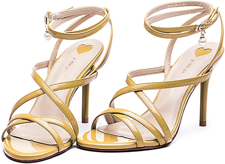 Lh yu Frauen Sandalen Damen Damen Mid Low High Heel Prom Strappy Crotver Sandalen Schuhe GrößE Party Hochzeit, 37, Gelb Gute Qualität  | Vollständige Spezifikation