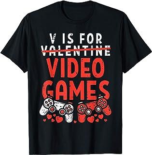 V Is For Video Games Funny Valentines Day Gamer Boy Men...
