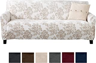 Great Bay Home Modern Velvet Plush Sofa Slipcover. Strapless Couch Cover, Stretch Slipcover for Couch, Soft Sofa Cover for Living Room. (Sofa, Silver Cloud - Toile)