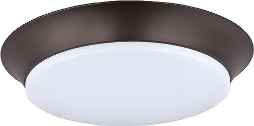 "discount Maxim 87597WTBZ Low Profile EE White Acrylic Round LED Flush Mount, 1-Light 12 Watt, popular 3""H x 14""W, high quality Bronze online sale"