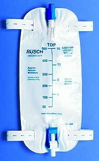 Teleflex Medical Inc Teleflex Easy-Tap Leg Bag, Medium, 19 oz, 500 ml, 18 Tubing, Anti-Reflux Valve, Cloth Straps, Easy Flip Drain (Pack of 5), White