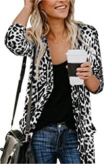Women's Leopard Print Button Down Lightweight Open Front Shirt Cardigans