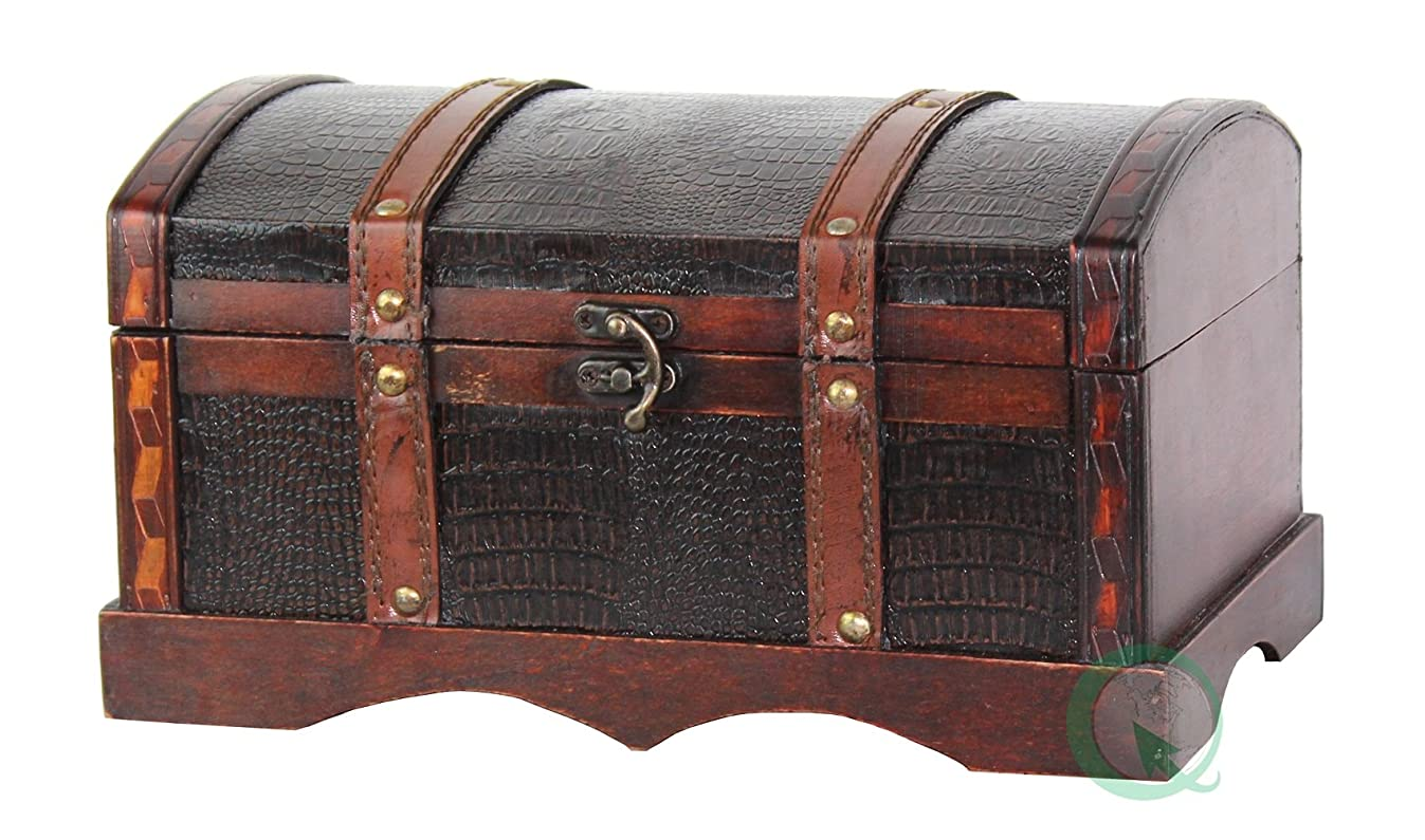 Vintiquewise(TM) Leather Wooden Chest/Trunk