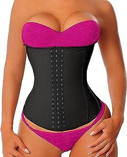 YIANNA Women's Latex High Waist Trainer Long Torso Waist Cincher Corsets for Weight Loss 3 Hook Rows, Size XL Rose