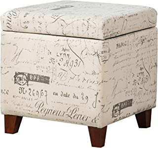 Adeco Fabric Script Pattern Cube Ottoman Storage Footstool, Hinged Lid, Solid Wood Legs, 18