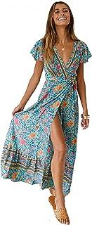 e8251468aba Femmes Sexy Cou V Robes Bohème Wrap Floral Imprimé Style Ethnique Vintage  Haute Maxi Robe Vintage
