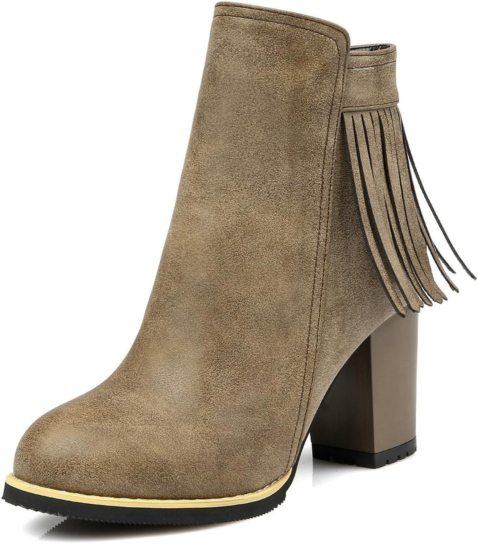AIWEIYi Womens Chunky High Heels Ankle Boots Fur Lining Platform Women Booties Yellow