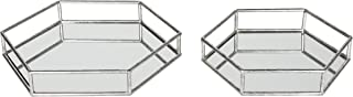 Kate and Laurel Felicia Nesting Metal Mirrored Decorative Accent Trays, Silver