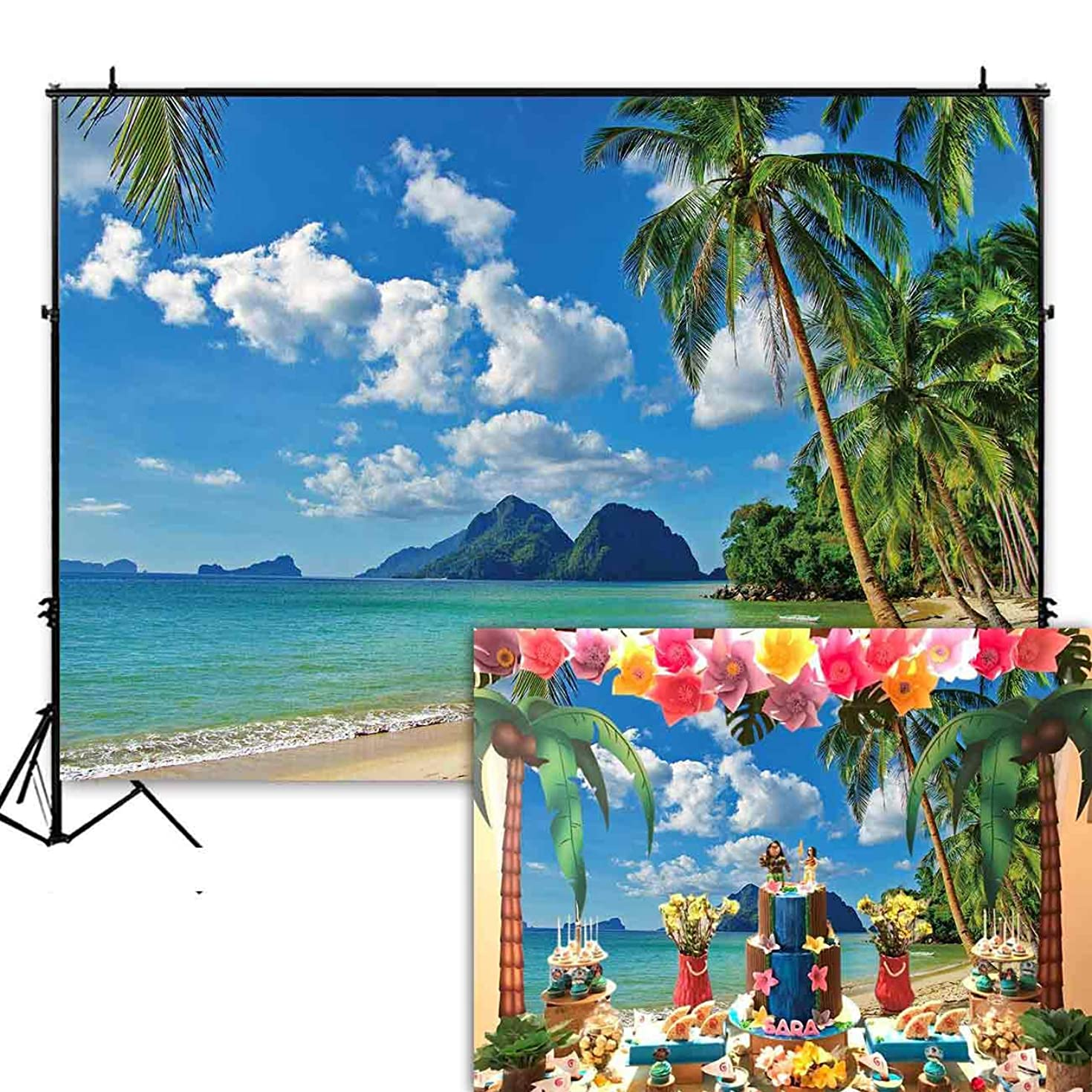 Funnytree 7x5ft Summer Tropical Beach Backdrop Seaside Island Palm Trees Photography Background for Picture Blue Sea Sky Sunshine Luau Themed Party Decorations Photo Booth Studio Props