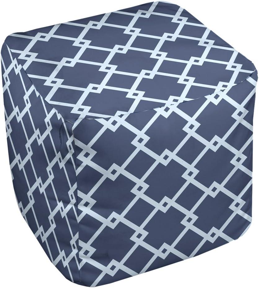 E by design FG-N10-Navy_Blue-13 Geometric Pouf