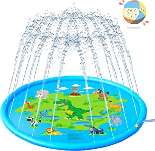 Ahk Splash Pad, Sprinkler For Kids, 69 Inches Wading