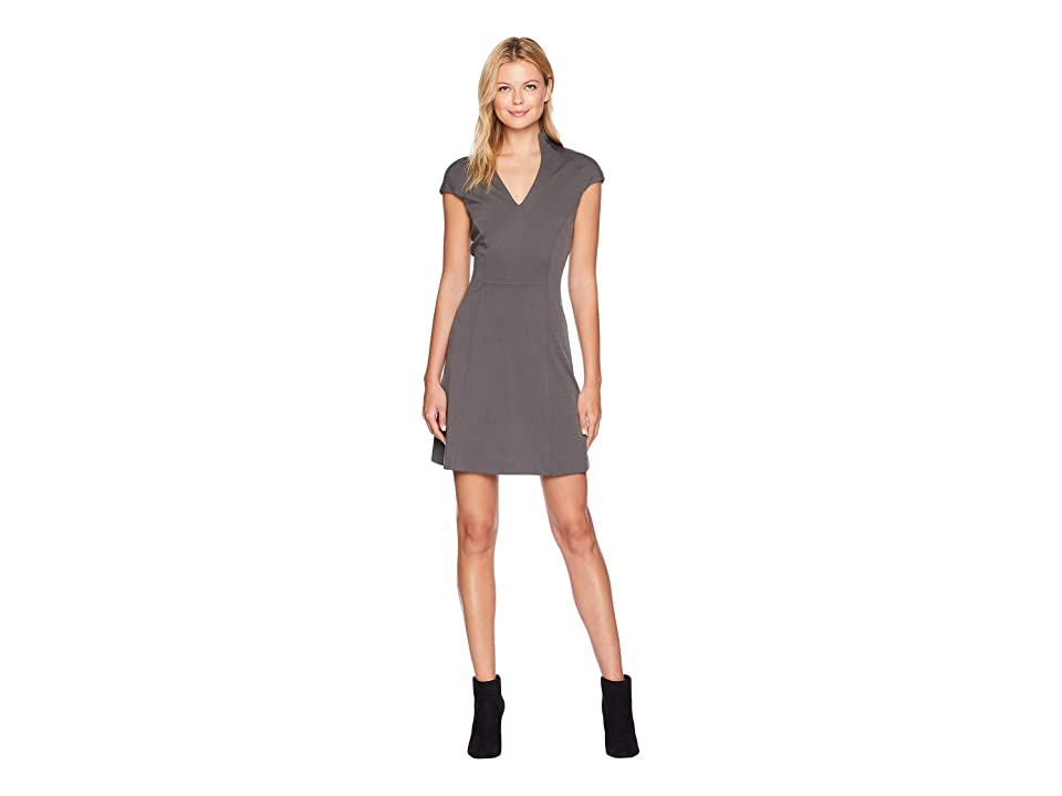 ALEXIA ADMOR Fit and Flare Military Neck Dress (Castle Grey) Women