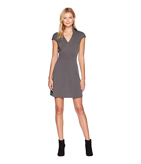 ALEXIA ADMOR Fit And Flare Military Neck Dress, Castle Grey