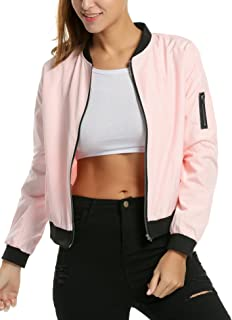 29ad8acb114 ... Women s Quilted Lightweight Jackets · Zeagoo Womens Classic Quilted  Jacket Short Bomber Jacket Coat