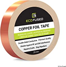 Premium Adhesive Copper Foil Tape - Double-Sided Conductive - 1 inch (25 mm) - EMI and RF Shielding, Paper Circuits, Electrical Repairs, Grounding, Arts and Crafts, Home Interior, Slug Repellent