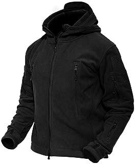 Men's Hooded Fleece Jacket Multi-Pockets Warm Military Tactical Jacket
