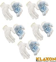 Klaxon Cotton Safety Hand Gloves (Navy blue, Set of 5 (10 Peices))