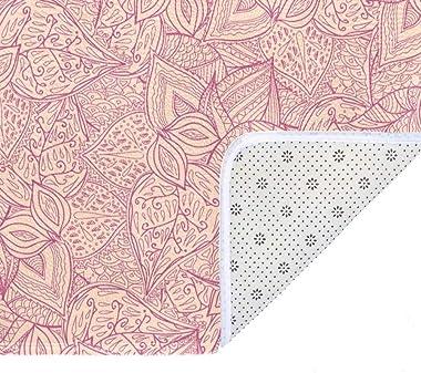 EGGDIOQ Doormats Pink Leaves Pattern Custom Print Bathroom Mat Waterproof Fabric Kitchen Entrance Rug, 23.6 x 15.7in