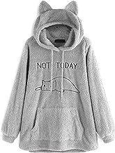 BULABULA Oversize Fleece Hoodie met Cat Ears Women Herfst Winter Pullover Dubbelzijdig Pluche Borduurwerk Hooded Sweatshirt