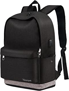 School Backpack, Black College Student Backpack for Men Women Boys Girls, Casual Unisex Bookbag with USB Charging Port for Travel Outdoor Camping, Canvas High School Rucksack Fits 15.6 Inch Laptop