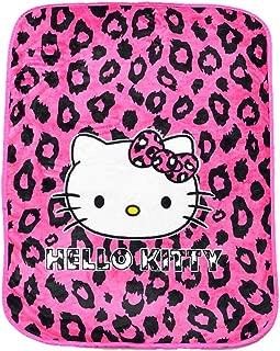 HOLY HOME Peach Blossom & Hello Kitty, Purple Temptation, Flannel Blanket Throw, 60