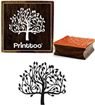 Printtoo Brown Tree Pattern Square Wooden Rubber Stamp Craft Textile Stamps-2 x 2 Inches