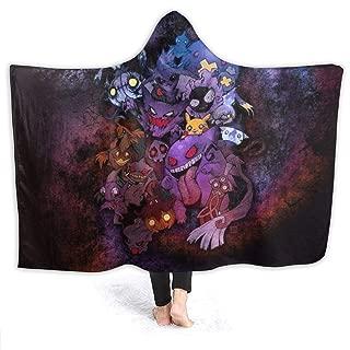 MaryTiTi Ghost Po-kemon Hooded Blanket Warm Fleece Blanket with Hood Throw Wearable Blanket Warm Cloak for Adult and Kids