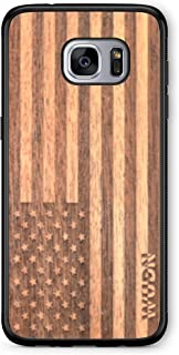 Wooden Phone Case (American Flag in Mahogany) Compatible with Galaxy S7 Edge, Samsung Galaxy S7 Edge
