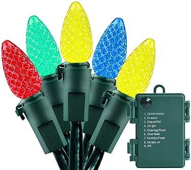 Cadena de luces con pilas – 50 luces LED C3 de 50 luces de Navidad con pilas para interior y exterior, decoración de fiesta de árbol de Navidad, impermeable, multicolor