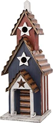 Glitzhome GH70279 Oversized Rustic Wooden Metal Birdhouse Garden Bird House, Patriotic Blue