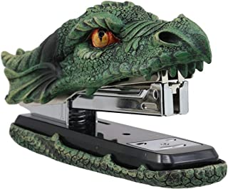 Ebros Gift Legendary Green Earth Fire Dragon Head Stapler Light Duty Office Desktop Accessory Home Decor Resin Stationery Dungeons and Dragons Medieval Renaissance Fantasy Collectible
