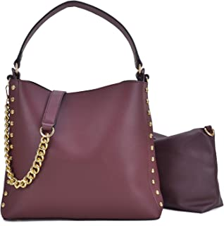 2 Pcs Women Studded Hobo Handbags Soft Vegan Leather Purses Roomy Tote Bags Satchels with Shoulder Strap