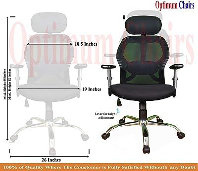 Optimum Chairs Matrix Ergonomic High Movable Revolving Office Chairs (Black)