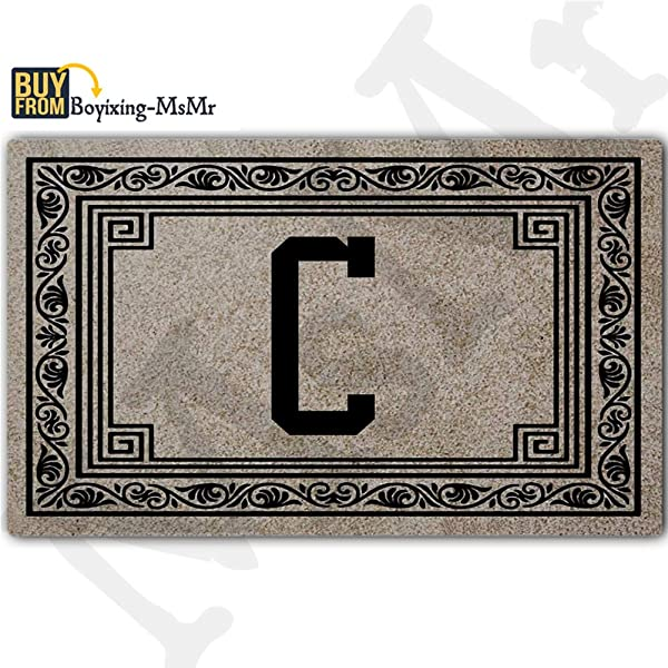 MsMr Personalized Monogrammed C Doormat Indoor Outdoor Entrance Floor Mat Customized Welcome Mat Rubber 18 By 30