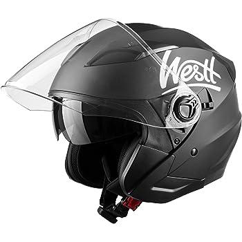 Westt Jet Motorcycle Helmet Matt Black Double Visor Helmet Scooter Ece Certified Matt Black Auto