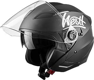 WESTT Jet Motorrad-Helm I Motorradhelm schwarz-matt I Rollerhelm mit Doppelvisier I Jethelm Herren & Damen I atmungsaktiver Mopedhelm I stoßfester Motorradhelm I ECE Zertifiziert